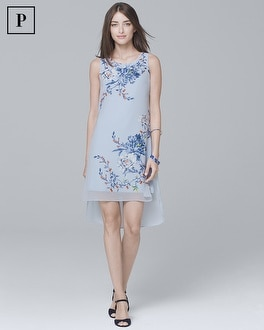 Petite Floral Overlay Shift Dress by Whbm