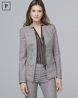 Petite Glen Plaid Blazer Jacket by Whbm