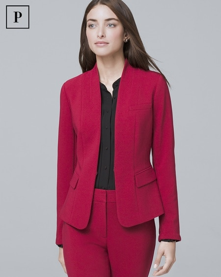 Petite Stand-Collar Suiting Jacket