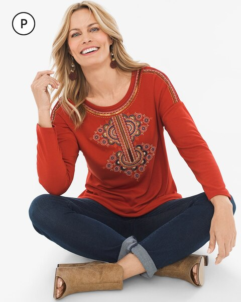 Petite Embroidered Scoop-Neck Top