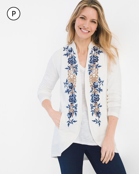 Zenergy Petite Floral Embroidered Jacket