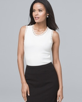 Sleeveless Faux Pearl Ladder Stitch Sweater by Whbm
