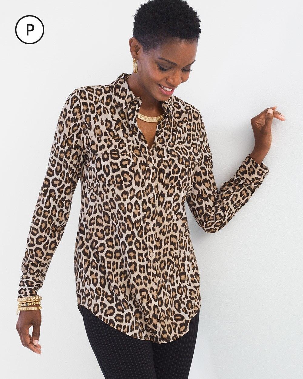 Petite Silky Soft Leopard-Print Shirt