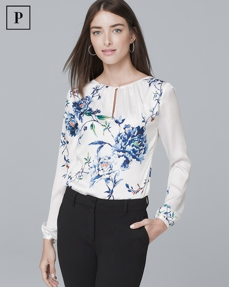 Petite Gathered-Detail Floral-Print Blouse
