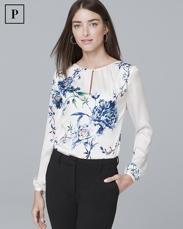 Petite Gathered Detail Floral Print Blouse by Whbm