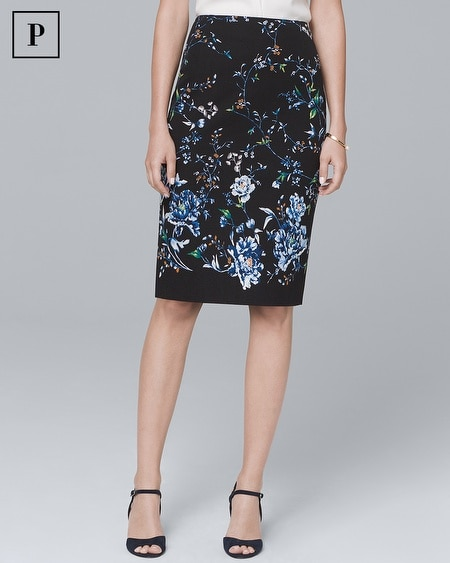 Petite Floral-Print Pencil Skirt