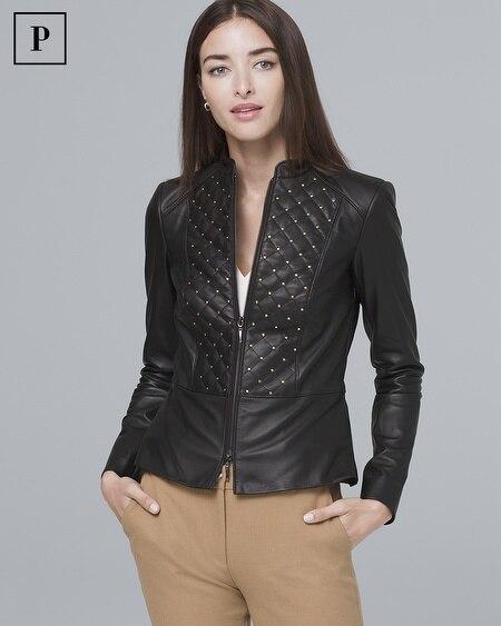 Petite Stud-Detail Leather Jacket