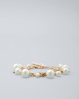Glass Pearl Station Bracelet by Whbm
