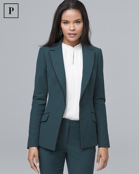 Petite Satin-Trim Comfort Stretch Blazer Jacket