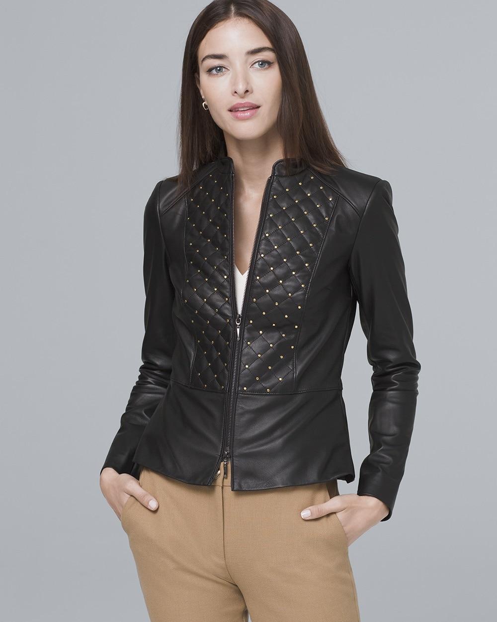 Stud-Detail Leather Jacket
