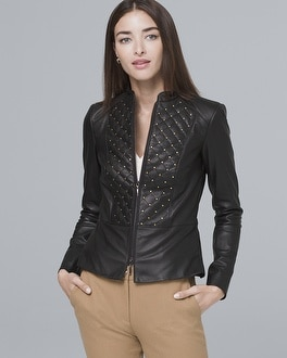 Stud Detail Leather Jacket by Whbm