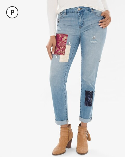 So Slimming Petite Patchwork Girlfriend Ankle Jeans