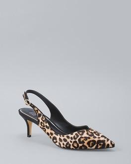 Leopard Calf Hair Slingback Heels by Whbm