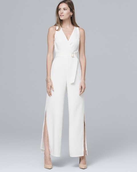 Women's White Crepe Wide-Leg Jumpsuit by White House Black Market, Ecru, Size 14