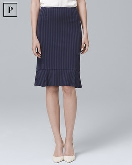 Petite Pinstripe Flounce Pencil Skirt | Tuggl