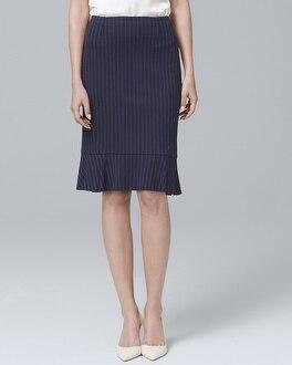 Pinstripe Flounce Pencil Skirt | Tuggl