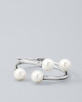 Glass Pearl Open Hinge Cuff Bracelet | Tuggl