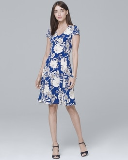 Floral-Print Knit A-Line Dress | Tuggl
