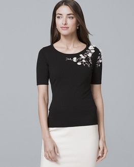Floral-Embroidered Short-Sleeve Sweater | Tuggl
