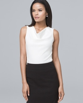 Sleeveless Draped Crepe Tank by Whbm