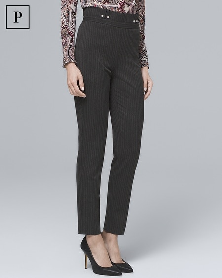 Petite Pinstripe Tapered Ankle Pants