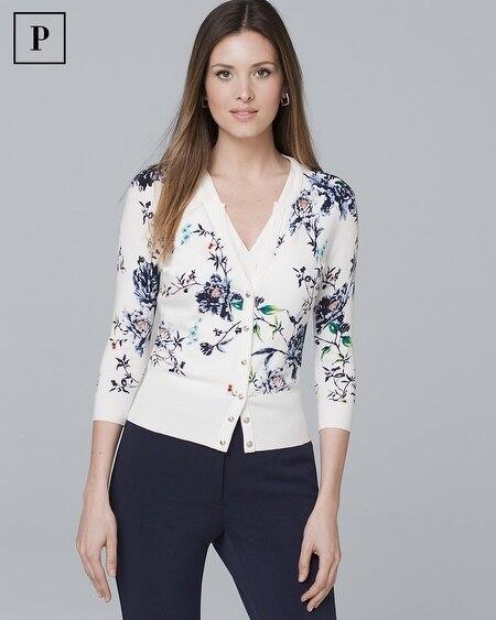 Petite Three-Quarter Sleeve Floral-Print Cardigan