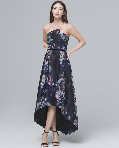 5d6b0624cde Printed Strapless High-Low Fit-and-Flare Dress - White House Black ...