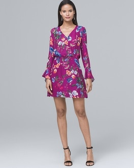 V Neck Floral Print Soft Dress by Whbm