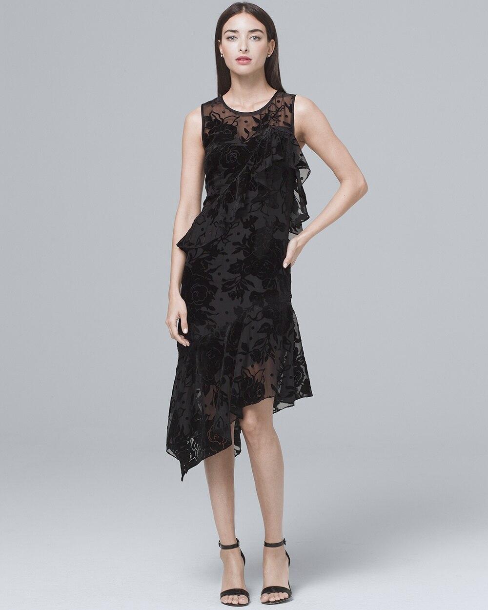 9335e2a292289 Velvet Burnout Black Midi Dress - White House Black Market