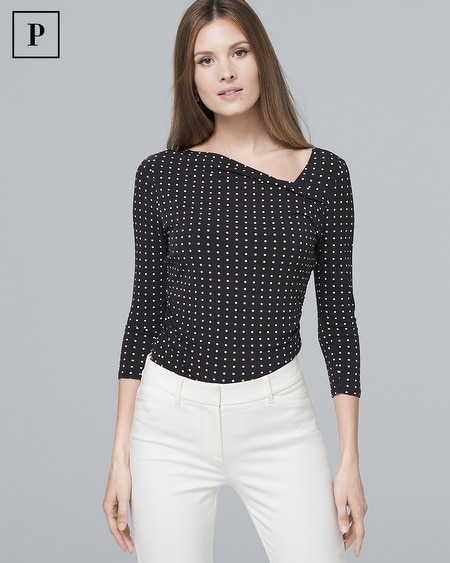 Petite Dot-Print Asymmetric Top