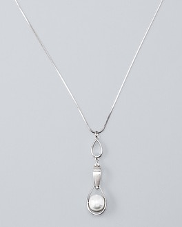 Glass Pearl Teardrop Link Long Pendant Necklace by Whbm
