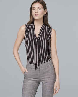 Ball Chain Tie Neck Stripe Shell by Whbm