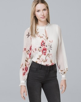 Floral Print Pleated Blouse by Whbm