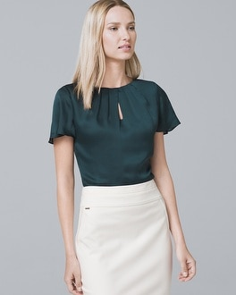 Short Sleeve Pleat Neck Blouse by Whbm
