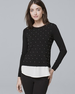 Faux Pearl Front Twofer Sweater by Whbm