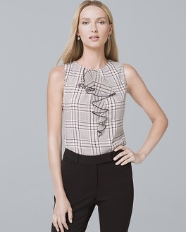 Ruffle Detail Plaid Shell by Whbm