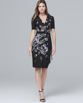 Floral-Print Knit Faux Wrap Dress | Tuggl