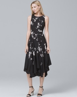 Floral-Print Soft Fit-and-Flare Dress | Tuggl