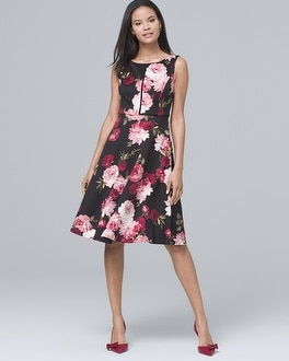 Floral Print Scuba Fit And Flare Dress by Whbm