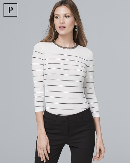 Petite Embellished-Neck Stripe Sweater
