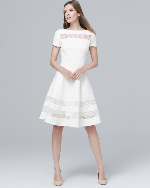 Banded White Fit And Flare Dress