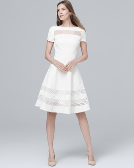 Banded White Fit-and-Flare Dress | Tuggl