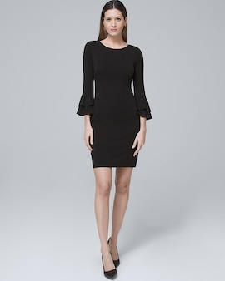 Tiered Sleeve Black Knit Shift Dress