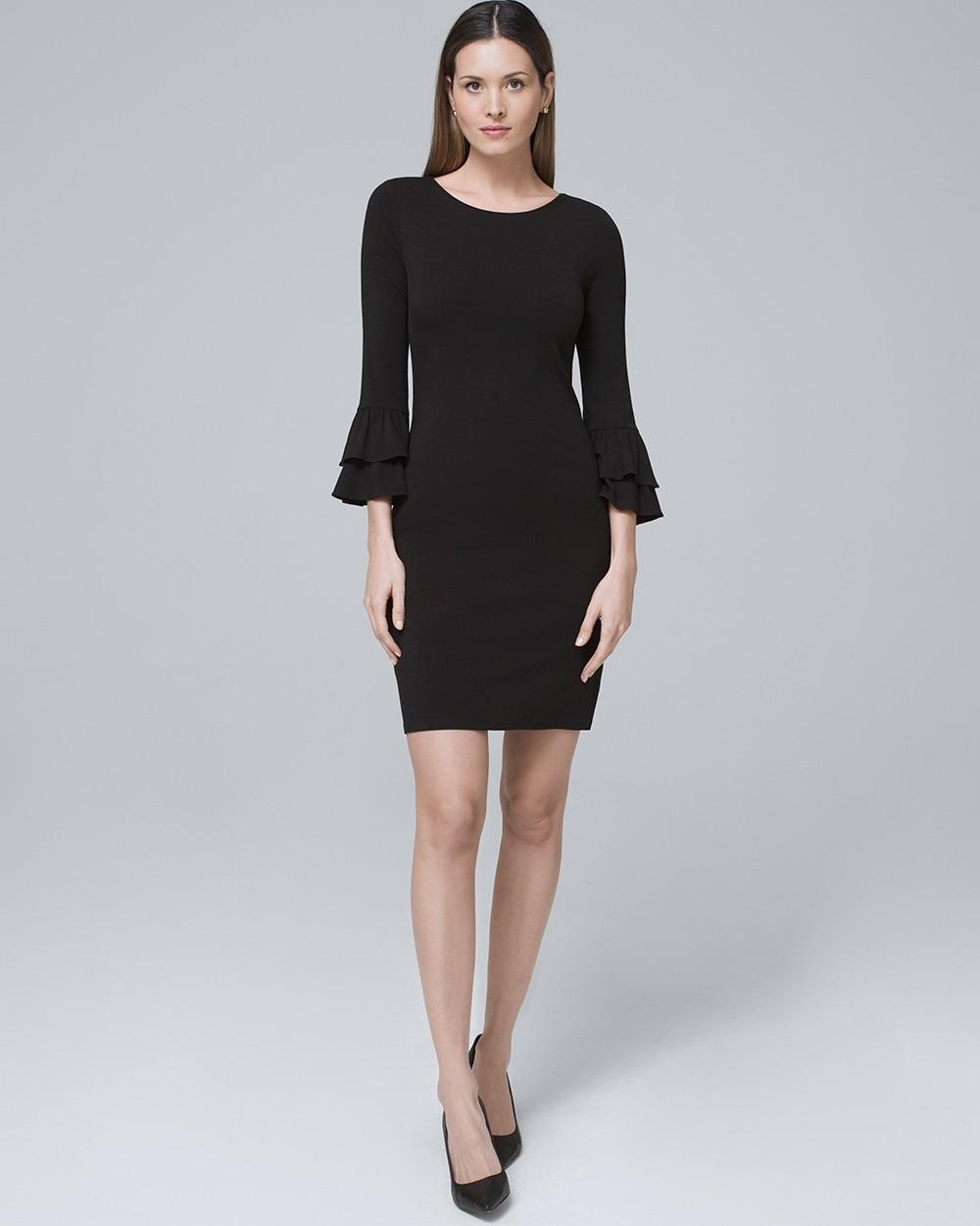 Tiered-Sleeve Black Knit Shift Dress