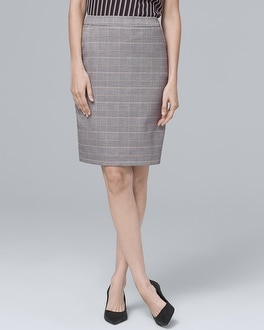 Plaid Suiting Pencil Skirt by Whbm