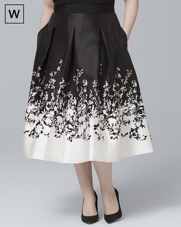 Plus Floral Print Satin Midi Skirt by Whbm