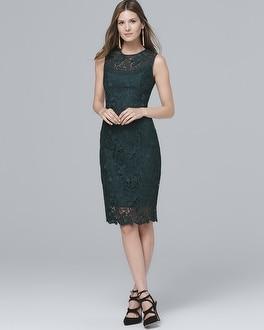 Illusion-Neck Lace Sheath Dress | Tuggl