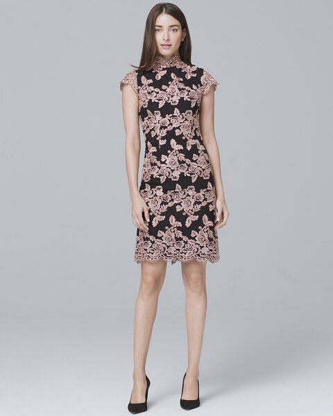Mock-Neck Lace Sheath Dress