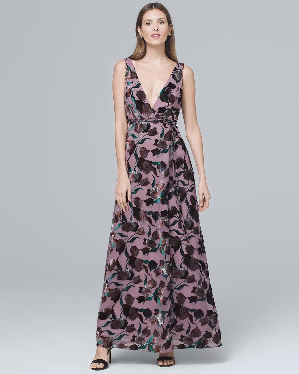 Velvet Burnout Wrap Gown - White House Black Market