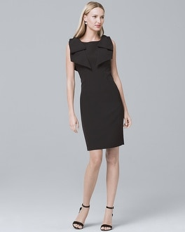 Bow-Shoulder Black Sheath Dress | Tuggl